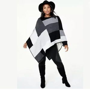 NWT 100% Cashmere Colorblock Poncho ONE SIZE